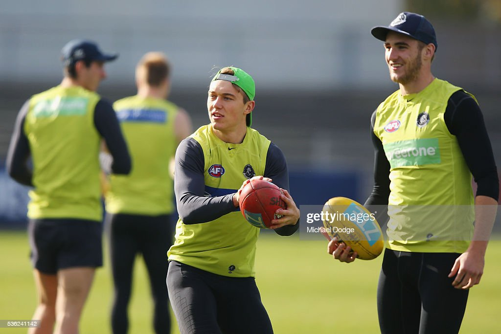 Patrick Cripps of the Blues (C) looks ahead during the Carlton Blues AFL training session at Ikon Park on June 1, 2016 in Melbourne, Australia.