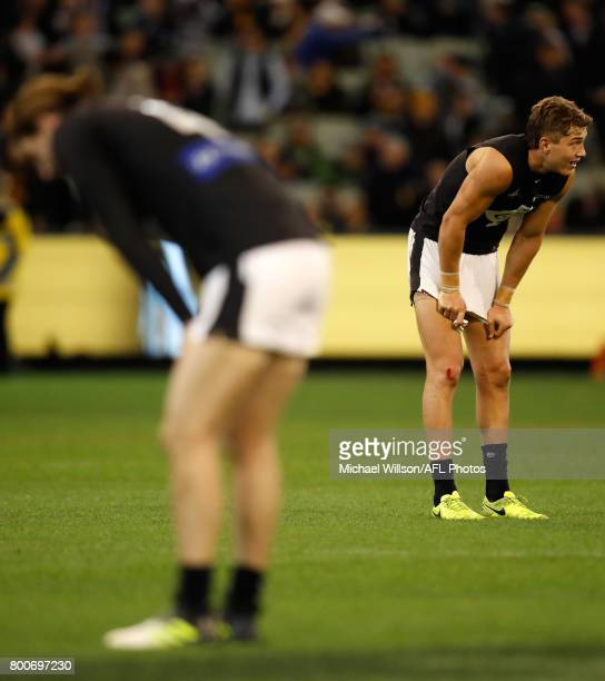 Patrick Cripps of the Blues looks dejected after a loss during the 2017 AFL round 14 match between the Richmond Tigers and the Carlton Blues at the...