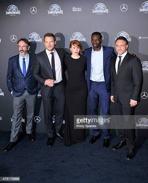 Patrick Crowley Chris Pratt Bryce Dallas Howard Omar Sy and Colin Trevorrow attend the 'Jurassic World' Photocall at UGC Normandie on May 29 2015 in...