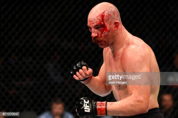 Patrick Cummins looks to strike Gian Villante in their light heavyweight bout during the UFC Fight Night event inside the Nassau Veterans Memorial...