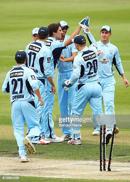 Patrick Cummins of the Blues celebrates with team mates after claiming the wicket of Cameron White of the Bushrangers during the Matador BBQs One Day...