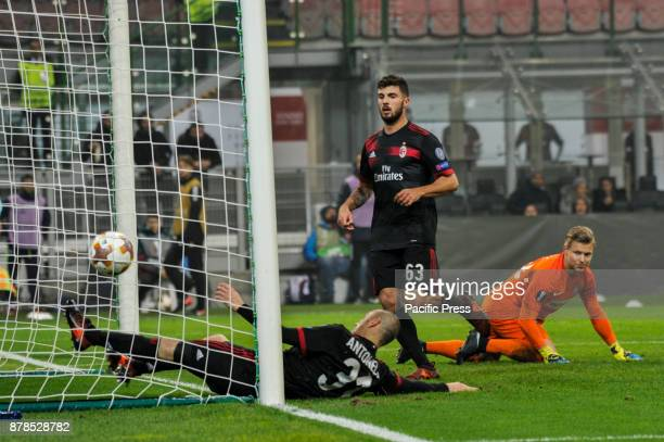 Patrick Cutrone and Luca Antonelli of AC Milan on goal of André Silva during uefa Europa League AC Milan vs FK Austria Wien at San Siro Stadium AC...