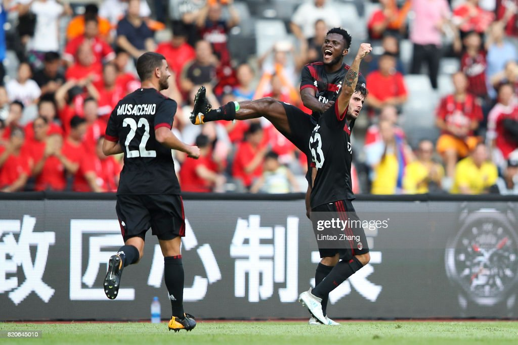 Patrick Cutrone of AC Milan celebrates a goal with teammate during the 2017 International Champions Cup China match between FC Bayern and AC Milan at Universiade Sports Centre Stadium on July 22, 2017 in Shenzhen, China.