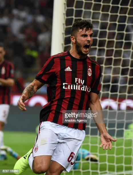 Patrick Cutrone of AC Milan celebrates after scoring during UEFA Europa League Qualifying Round match between AC Milan and CS U Craiova at Giuseppe...
