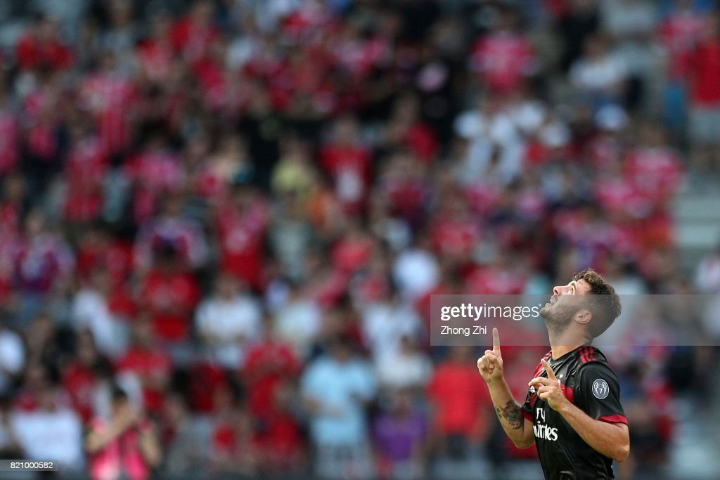 #63 Patrick Cutrone of AC Milan celebrates his goal during the 2017 International Champions Cup football match between AC Milan and FC Bayern Muenchen on July 22, 2017 in Shenzhen, China.