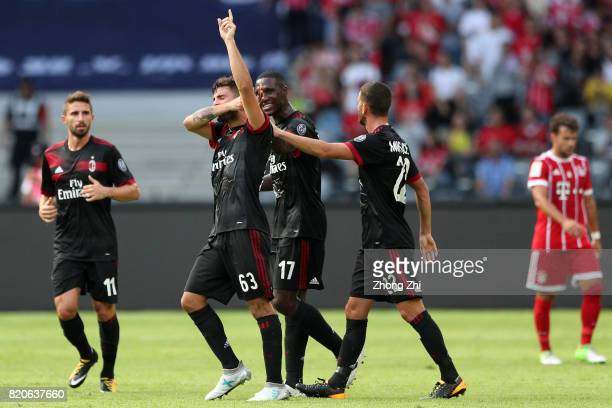 Patrick Cutrone of AC Milan celebrates his goal with Cristian Zapata and Mateo Musacchio of AC Milan during the 2017 International Champions Cup...