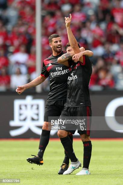 Patrick Cutrone of AC Milan celebrates his goal with Mateo Musacchio of AC Milan during the 2017 International Champions Cup football match between...