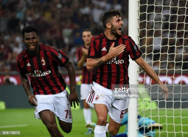 Patrick Cutrone of AC Milan celebrates with his teammate after scoring during UEFA Europa League Qualifying Round match between AC Milan and CS U...