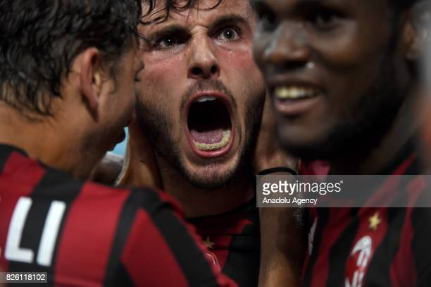 Patrick Cutrone of AC Milan celebrates with his teammates after scoring during UEFA Europa League Qualifying Round match between AC Milan and CS U...