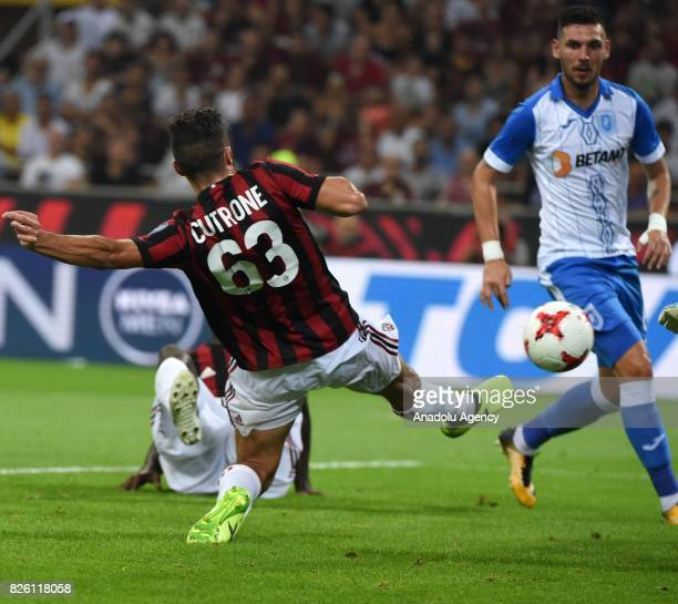 Patrick Cutrone of AC Milan prepares to score during UEFA Europa League Qualifying Round match between AC Milan and CS U Craiova at Giuseppe Meazza...