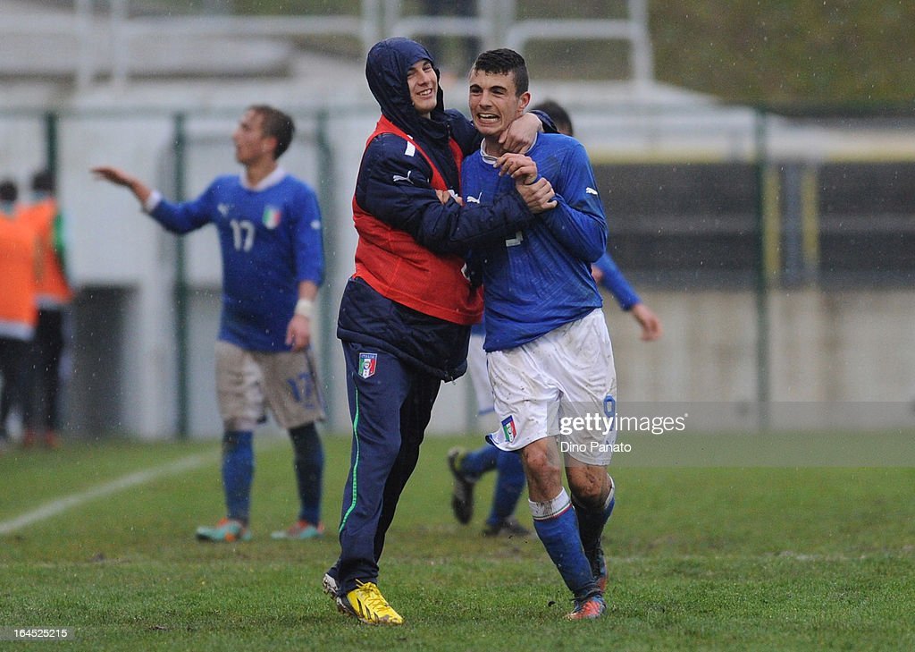 Patrick Cutrone of Italy U15 celebrates after scoring his teams thierd goal during the International U15 Tournament match between U15 Germany and U15 Italy at Stadio Tognon on March 24, 2013 in Fontanafredda, Italy.