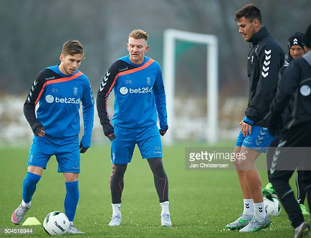 Patrick da Silva of Brondby IF and Kristian Larsen of Brondby IF in action during the first training session in Brondby IF at Brondby Stadion on...