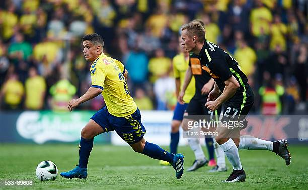 Patrick da Silva of Brondby IF controls the ball during the Danish Alka Superliga match between Brondby IF and Viborg FF at Brondby Stadion on May 23...