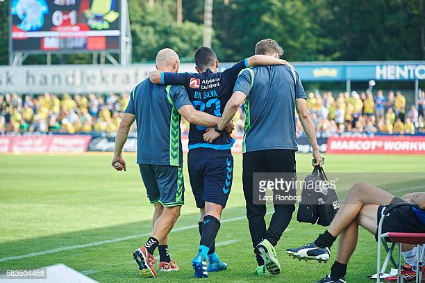 Patrick da Silva of Brondby IF leaves the pitch injured during the Danish Alka Superliga match between Silkeborg IF and Brondby IF at Mascot Park on...