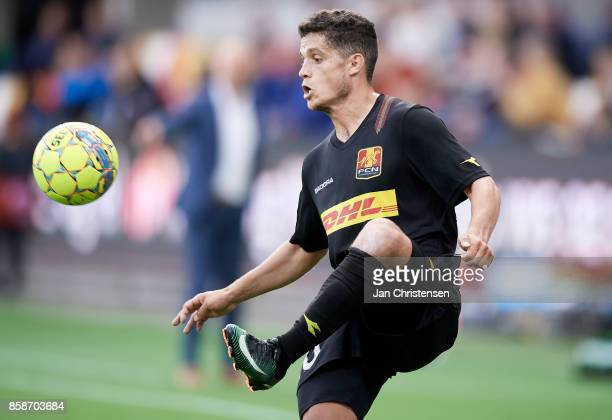 Patrick da Silva of FC Nordsjalland controls the ball during the Danish Alka Superliga match between Silkeborg IF and FC Nordsjalland at JYSK Park on...