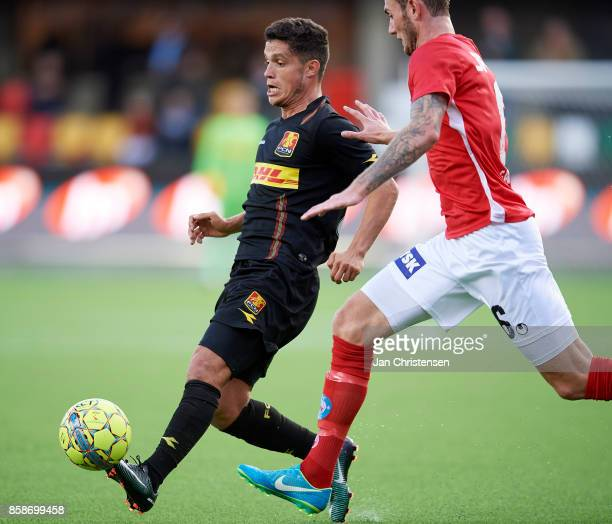 Patrick da Silva of FC Nordsjalland in action during the Danish Alka Superliga match between Silkeborg IF and FC Nordsjalland at JYSK Park on October...
