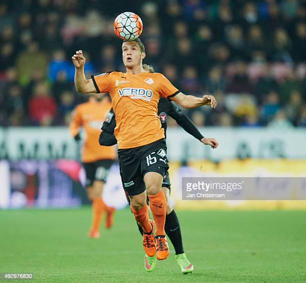 Patrick Da Silva of Randers FC controls the ball during the Danish Alka Superliga match between FC Midtjylland and Randers FC at MCH Arena on October...