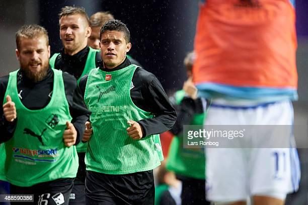 Patrick da Silva of Randers FC warms up during the Danish Alka Superliga match between FC Copenhagen and Randers FC at Telia Parken Stadium on...