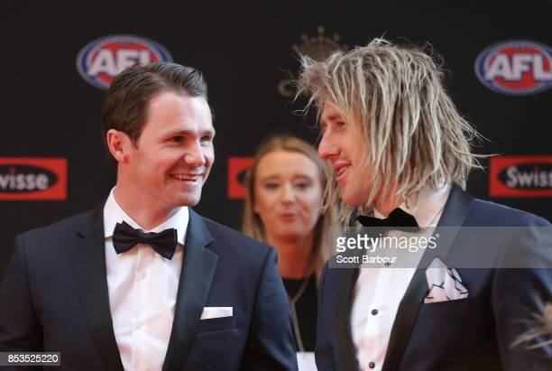 Patrick Dangerfield and Dyson Heppell arrive ahead of the 2017 Brownlow Medal at Crown Entertainment Complex on September 25 2017 in Melbourne...