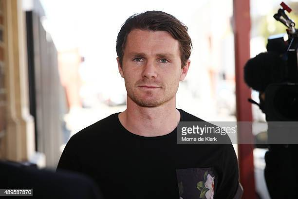 Patrick Dangerfield arrives at the Adelaide Crows end of AFL season gathering at the Cumberland Arms Hotel on September 23 2015 in Adelaide Australia