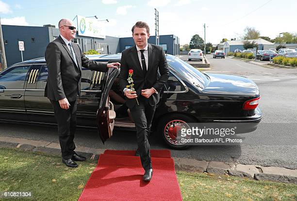 Patrick Dangerfield as Osher Gunsberg from the Bachelor during the Geelong Cats AFL postseason celebrations at the Lord of Isles Hotel on September...