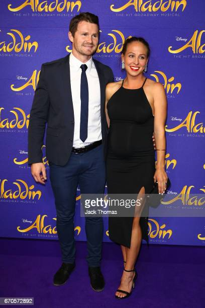 Patrick Dangerfield from the Geelong Football club and Mardi Dangerfield arrive ahead of Aladdin opening night at Her Majesty's Theatre on April 20...