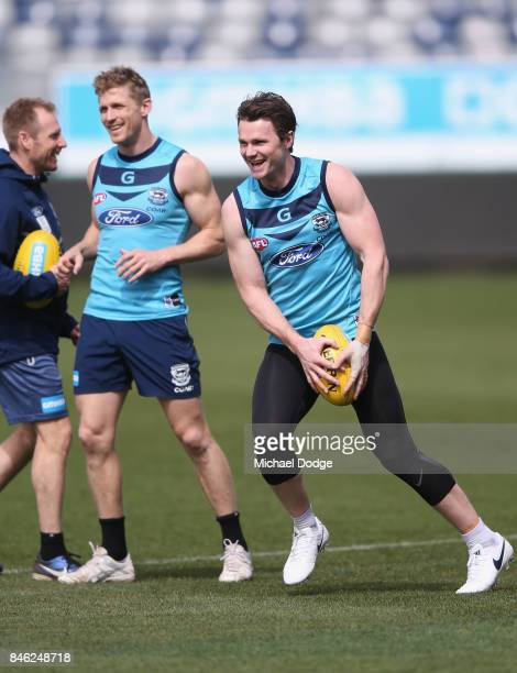 Patrick Dangerfield looks upfield ahead of Scott Selwood during the Geelong Cats AFL training session at Simonds Stadium on September 13 2017 in...