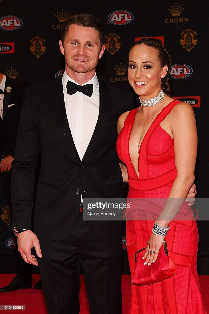 Patrick Dangerfield of Geelong (L) and Mardi Dangerfield arrive ahead of the 2016 Brownlow Medal at Crown Entertainment Complex on September 26, 2016 in Melbourne, Australia.