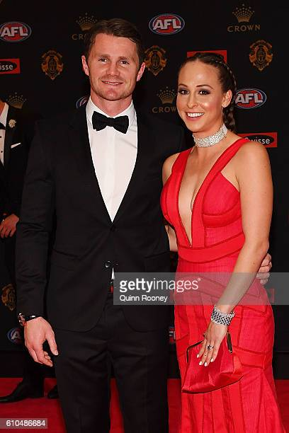 Patrick Dangerfield of Geelong and Mardi Dangerfield arrive ahead of the 2016 Brownlow Medal at Crown Entertainment Complex on September 26 2016 in...