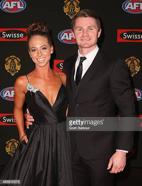 Patrick Dangerfield of the Adelaide Crows and his partner Mardi Harwood attend the 2014 Brownlow Medal at Crown Palladium on September 22 2014 in...
