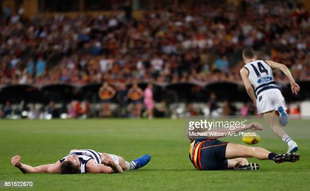 Patrick Dangerfield of the Cats and Rory Sloane of the Crows collide during the 2017 AFL First Preliminary Final match between the Adelaide Crows and...