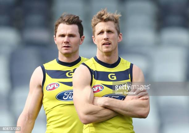 Patrick Dangerfield of the Cats and Scott Selwood of the Cats look on during a Geelong Cats AFL training session at Simonds Stadium on August 10 2017...