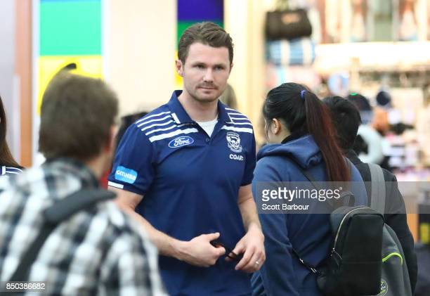 Patrick Dangerfield of the Cats arrives to fly to Adelaide at Melbourne Airport on September 21 2017 in Melbourne Australia