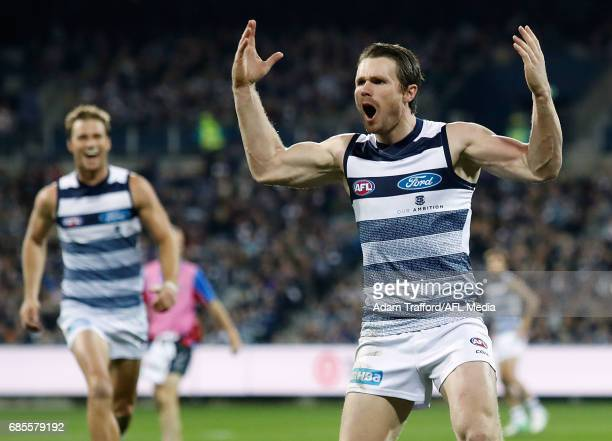 Patrick Dangerfield of the Cats celebrates a goal during the 2017 AFL round 09 match between the Geelong Cats and the Western Bulldogs at Simonds...