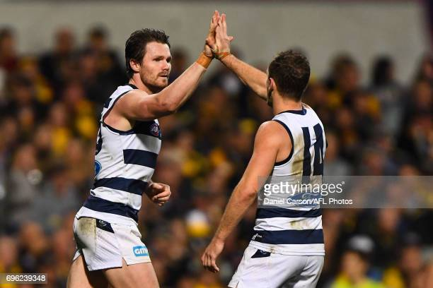Patrick Dangerfield of the Cats celebrates a goal during the 2017 AFL round 13 match between the West Coast Eagles and the Geelong Cats at Domain...