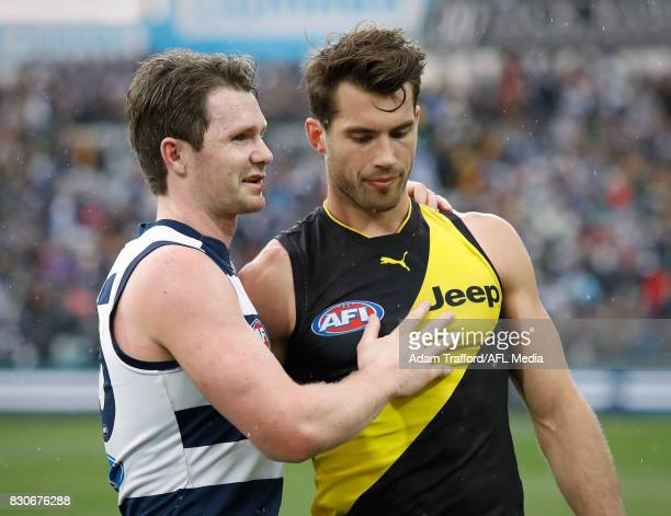 Patrick Dangerfield of the Cats chats to Alex Rance of the Tigers during the 2017 AFL round 21 match between the Geelong Cats and the Richmond Tigers...