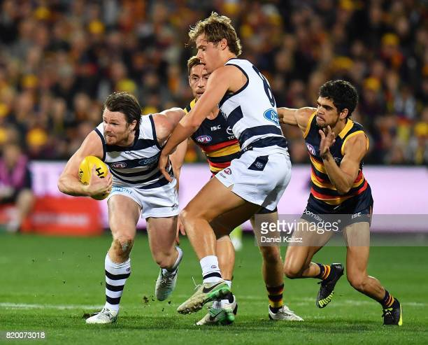 Patrick Dangerfield of the Cats competes for the ball during the round 18 AFL match between the Adelaide Crows and the Geelong Cats at Adelaide Oval...
