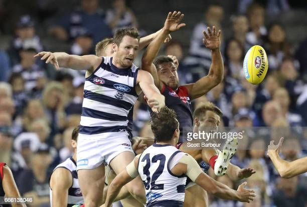 Patrick Dangerfield of the Cats competes for the ball during the round three AFL match between the Geelong Cats and the Melbourne Demons at Etihad...