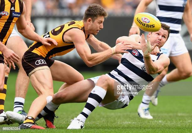 Patrick Dangerfield of the Cats handballs whilst being tackled Liam Shiels of the Hawks during the round four AFL match between the Hawthorn Hawks...
