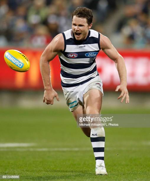 Patrick Dangerfield of the Cats in action during the 2017 AFL round 11 match between the Geelong Cats and the Adelaide Crows at Simonds Stadium on...
