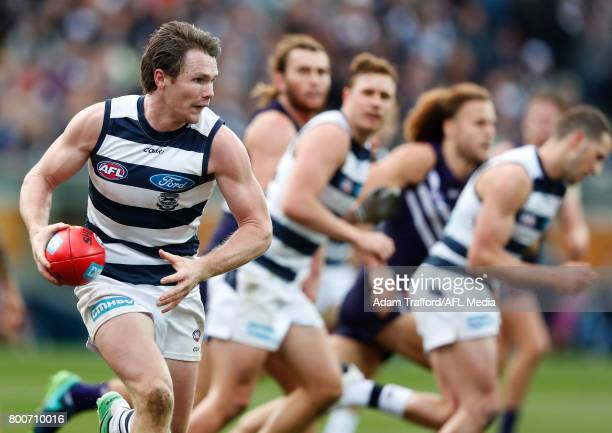 Patrick Dangerfield of the Cats in action during the 2017 AFL round 14 match between the Geelong Cats and the Fremantle Dockers at Simonds Stadium on...