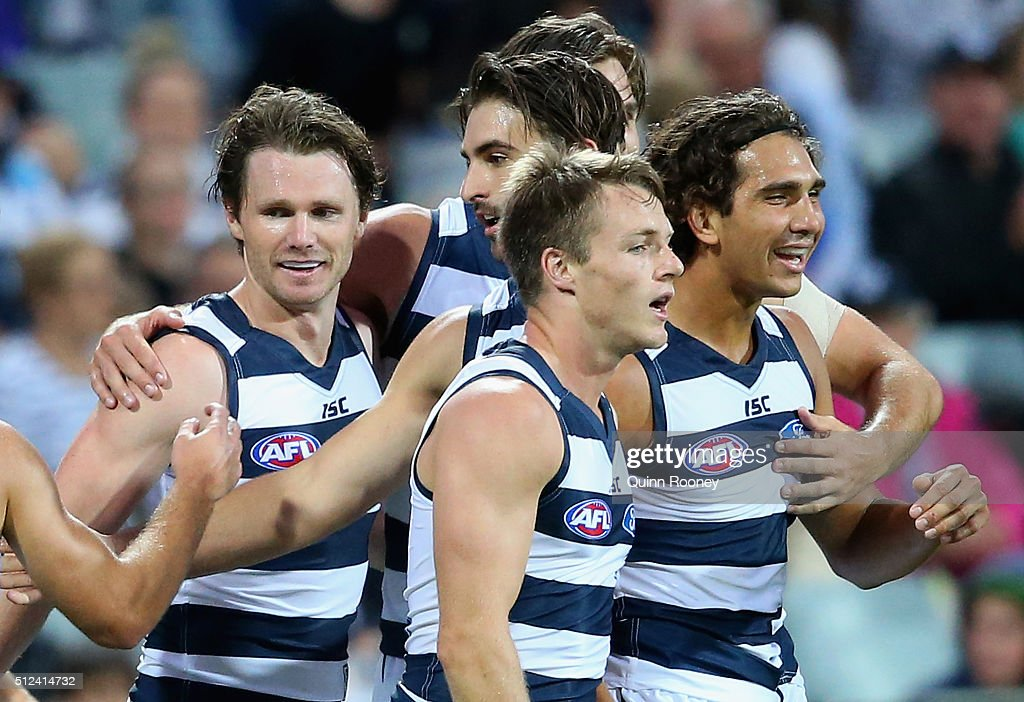 Patrick Dangerfield of the Cats is congratulated by team mates after kicking a goal during the 2016 NAB Challenge match between the Geelong Cats and the Collingwood Magpies at Simonds Stadium on February 26, 2016 in Geelong, Australia.