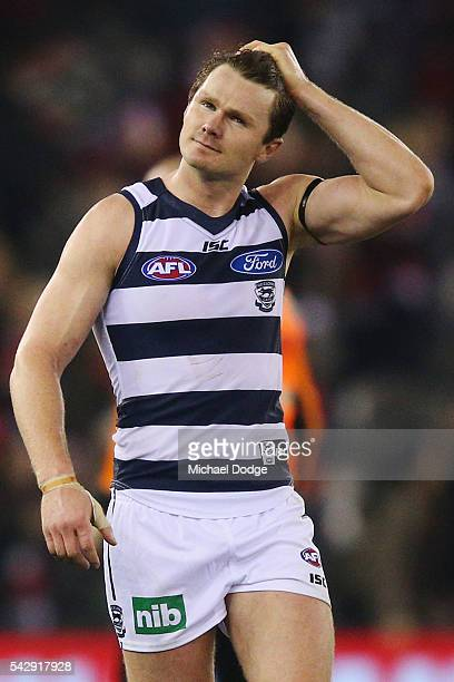 Patrick Dangerfield of the Cats looks dejected after losing during the round 14 AFL match between the St Kilda Saints and the Geelong Cats at Etihad...