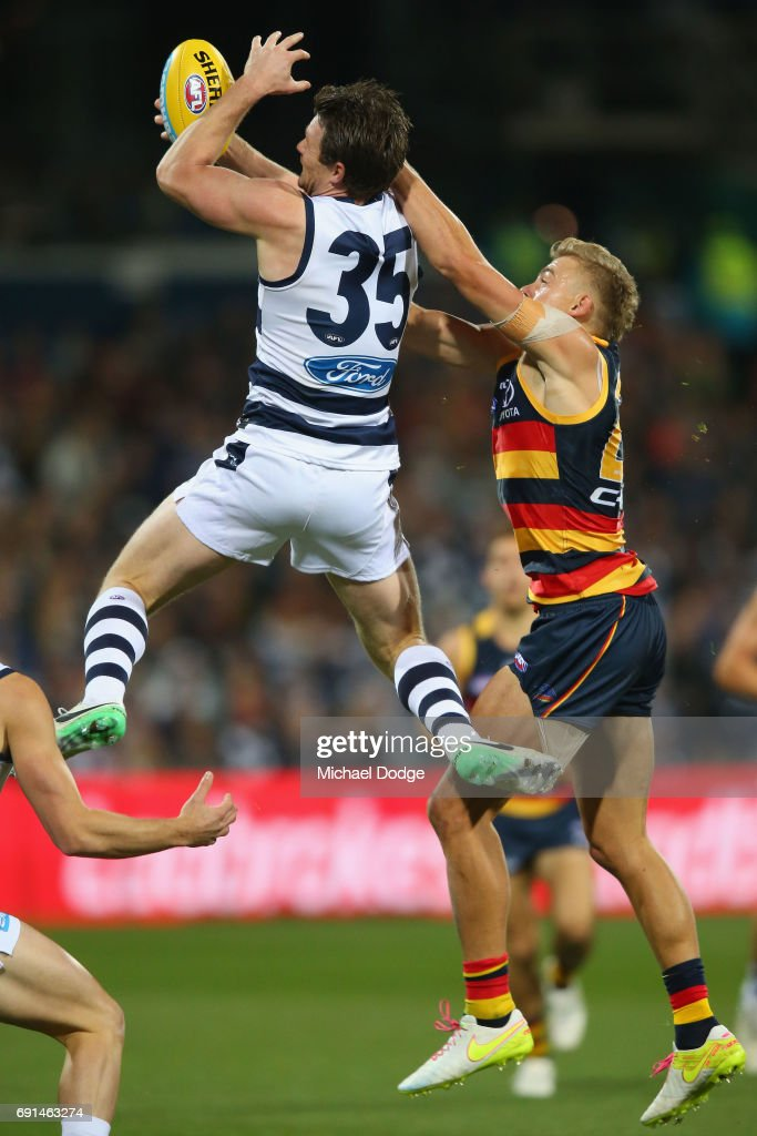 Patrick Dangerfield of the Cats marks the ball during the round 10 AFL match between the Collingwood Magpies and Brisbane Lions at Melbourne Cricket Ground on May 28, 2017 in Melbourne, Australia.