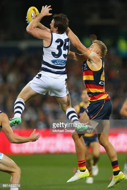 Patrick Dangerfield of the Cats marks the ball during the round 10 AFL match between the Collingwood Magpies and Brisbane Lions at Melbourne Cricket...