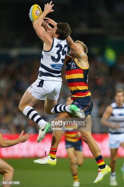 Patrick Dangerfield of the Cats marks the ball during the round 11 AFL match between the Geelong Cats and the Adelaide Crows at Simonds Stadium on...