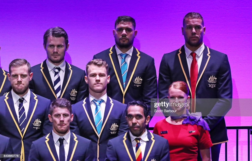 Patrick Dangerfield of the Cats, Patrick 'Paddy' Ryder of the Power, Robbie Gray of the Power, Eddie Betts of the Crows, Lance Franklin of the Swans and the AFL All Australian team pose on stage during the AFL All Australian team announcement at the Palais Theatre on August 30, 2017 in Melbourne, Australia.