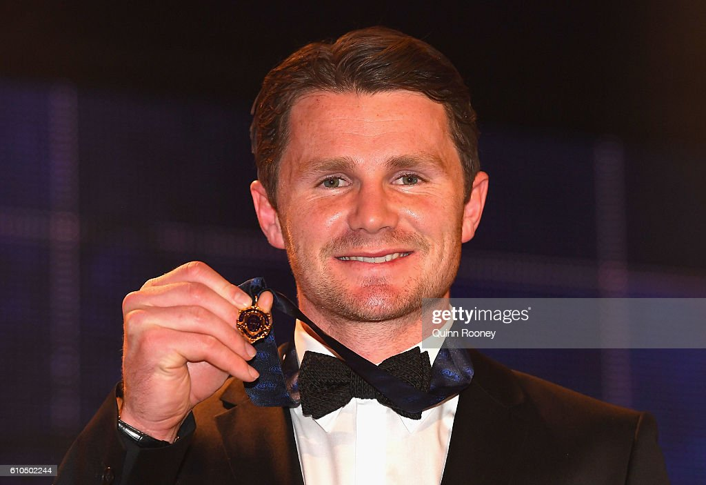 Patrick Dangerfield of the Cats poses after winning the 2016 Brownlow Medal at the 2016 Brownlow Medal at Crown Entertainment Complex on September 26, 2016 in Melbourne, Australia.