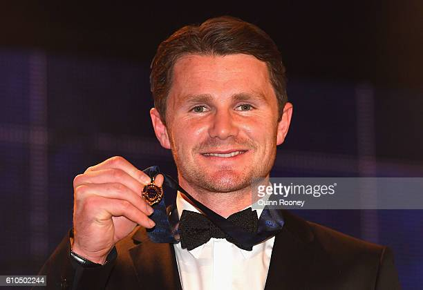 Patrick Dangerfield of the Cats poses after winning the 2016 Brownlow Medal at the 2016 Brownlow Medal at Crown Entertainment Complex on September 26...