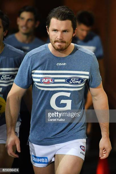 Patrick Dangerfield of the Cats walks out onto the ground prior to the round 18 AFL match between the Adelaide Crows and the Geelong Cats at Adelaide...